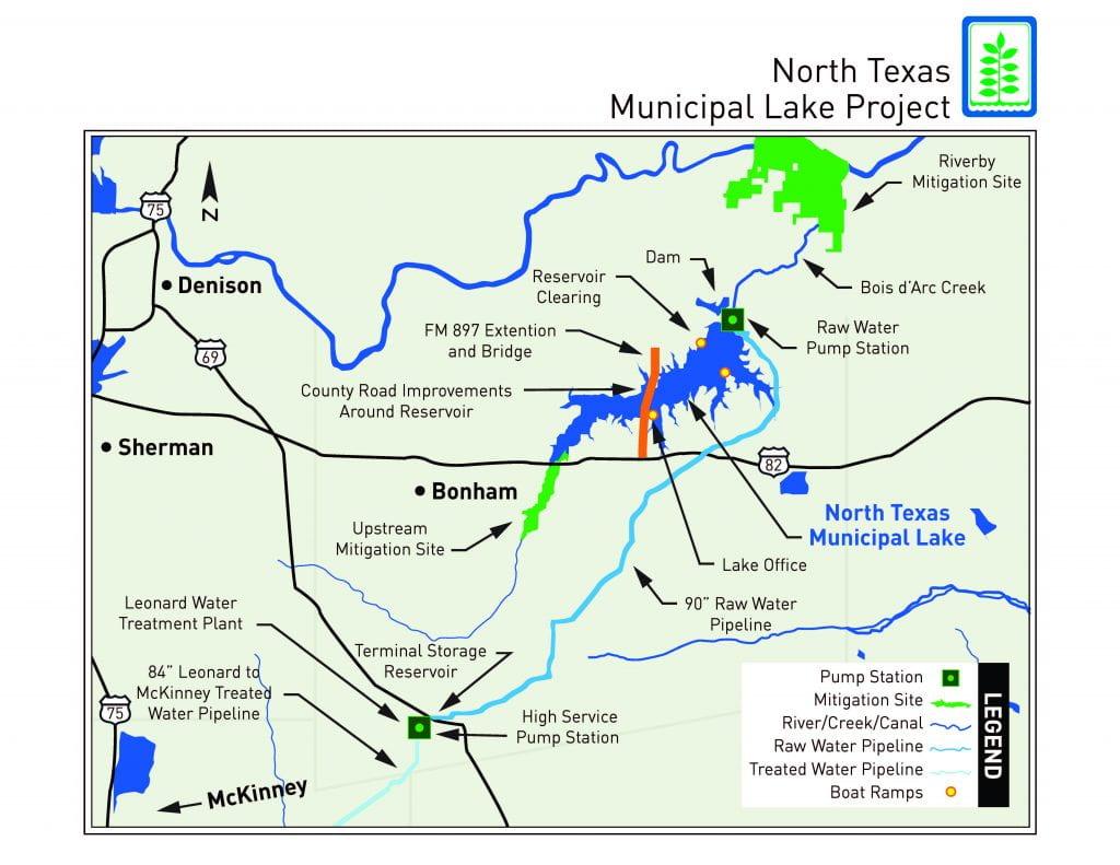 Map of North Texas Municipal Lake
