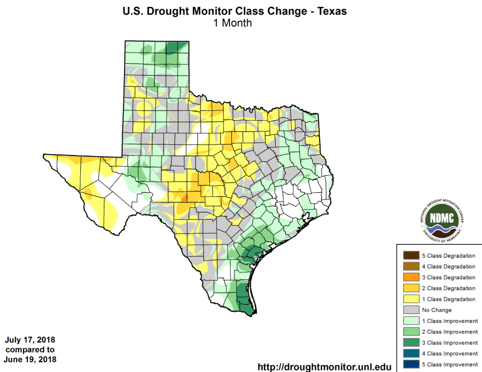 Figure 3. Changes in the U.S. Drought Monitor for Texas between June 19, 2018, and July 17, 2018 (source).