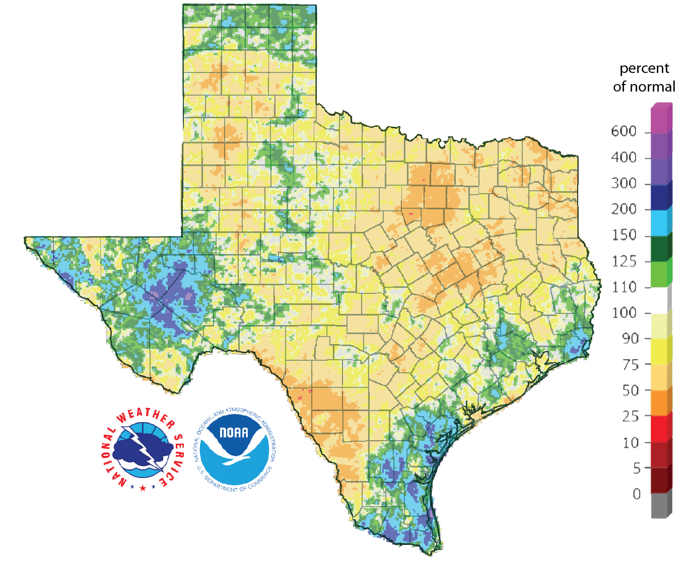 Figure 4. Rainfall as a percent of normal for the past 90 days as of July 18, 2018 (source).