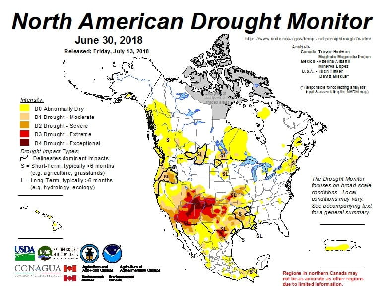 Figure 5. The North American Drought Monitor for June 30, 2018 (source).