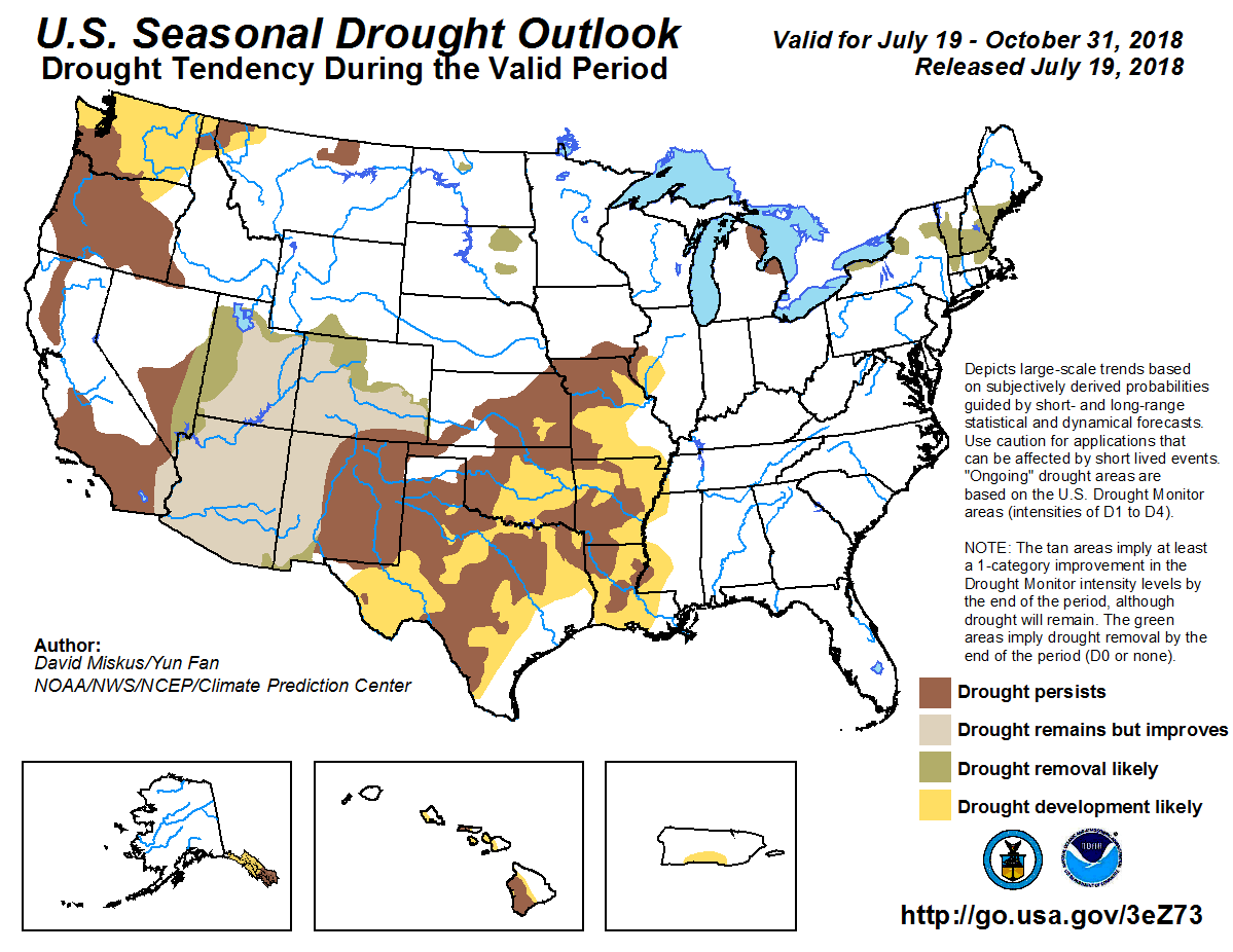Figure 9: The U.S. Seasonal Drought Outlook for July 19 through October 31, 2018 (source).