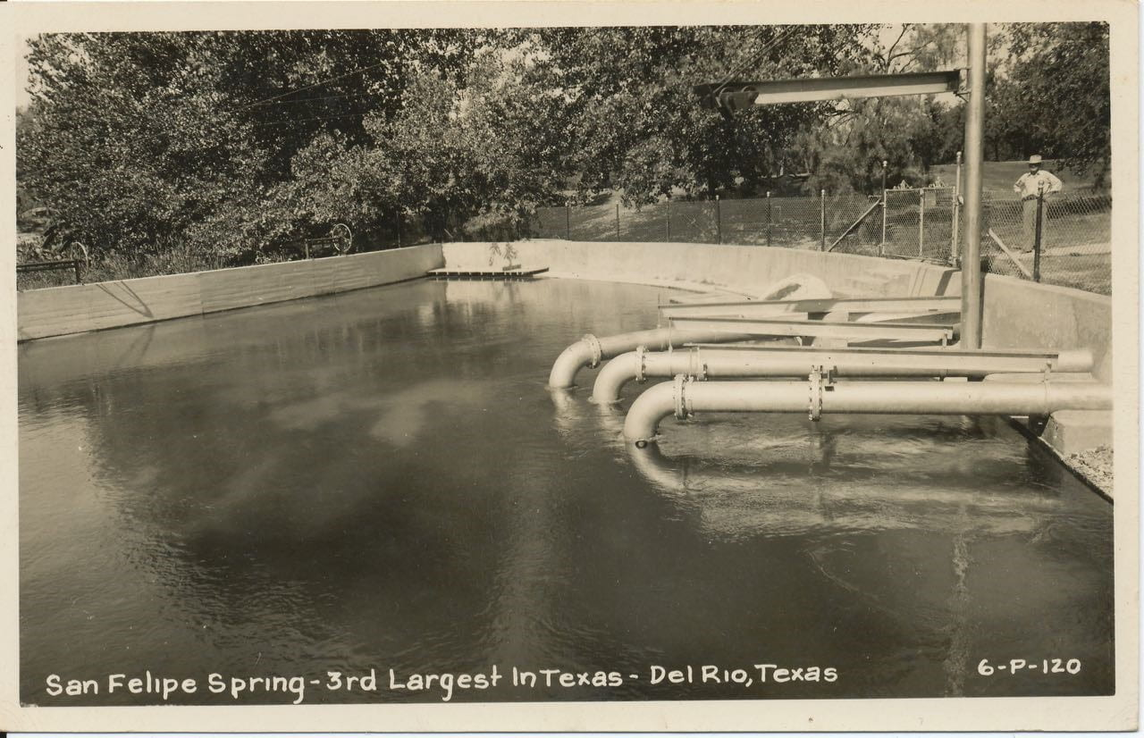 Figure 1C: Postcard showing San Felipe Spring with production pipes [source].