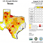 Figure 2: Drought conditions in Texas according to the U.S. Drought Monitor (as of August 14, 2018) [source].
