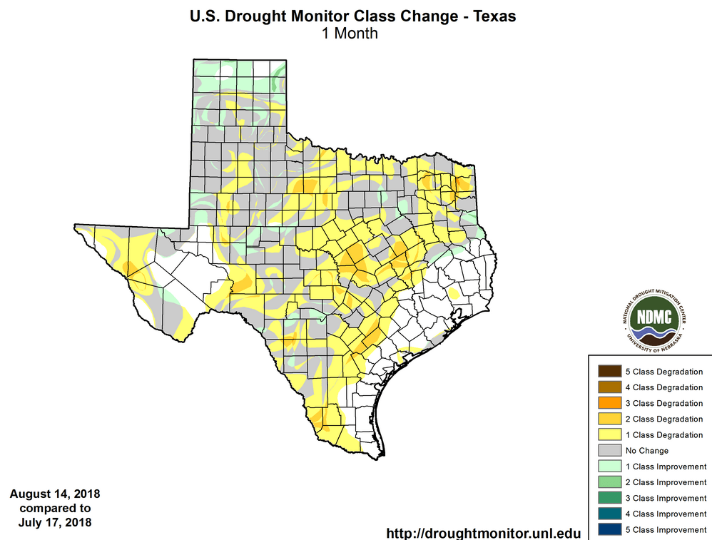 Figure 3: Changes in the U.S. Drought Monitor for Texas between July 17, 2018, and August 14, 2018 [source].