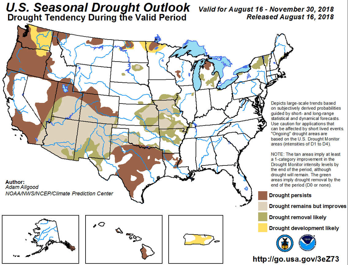 Figure 9: The U.S. Seasonal Drought Outlook for August 16 through November 30, 2018 [source].