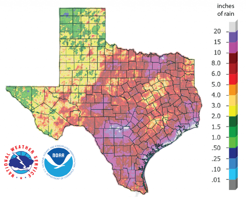Figure 1a: Inches of rain that fell in Texas in the 30 days before September 23, 2018 [source].