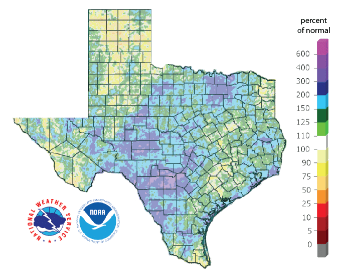 Figure 3: Rainfall as a percent of normal for the past 90 days (as of September 23, 2018)[source].