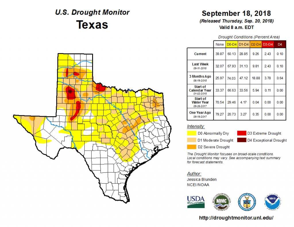 Figure 2a: Drought conditions in Texas according to the U.S. Drought Monitor (as of September 18, 2018) [source].
