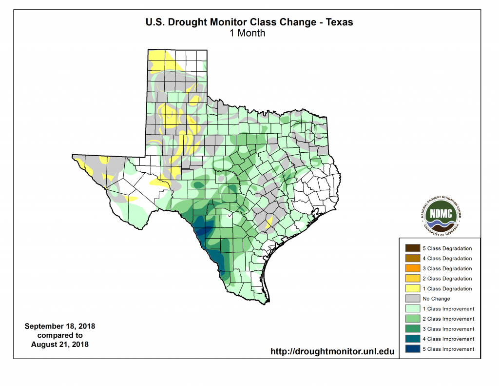 Figure 2b: Changes in the U.S. Drought Monitor for Texas between August 14, 2018, and September 18, 2018 [source].