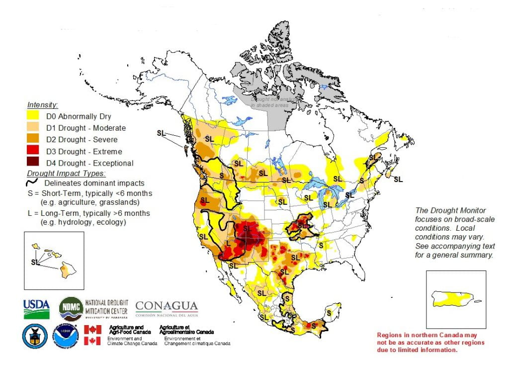 Figure 4a: The North American Drought Monitor for August 31, 2018 [source].
