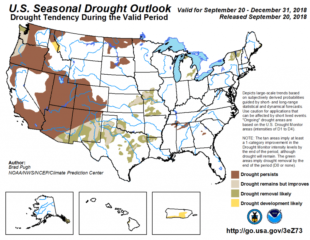 Figure 9: The U.S. Seasonal Drought Outlook for August 16 through December 31, 2018 [source].