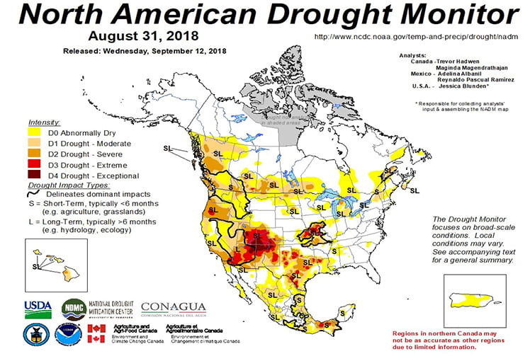 Figure 4a: The North American Drought Monitor for August 31, 2018 (source).