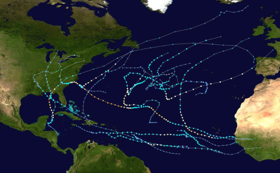 Figure 1a: Tracks of tropical cyclones in the Atlantic in 2018 (source).