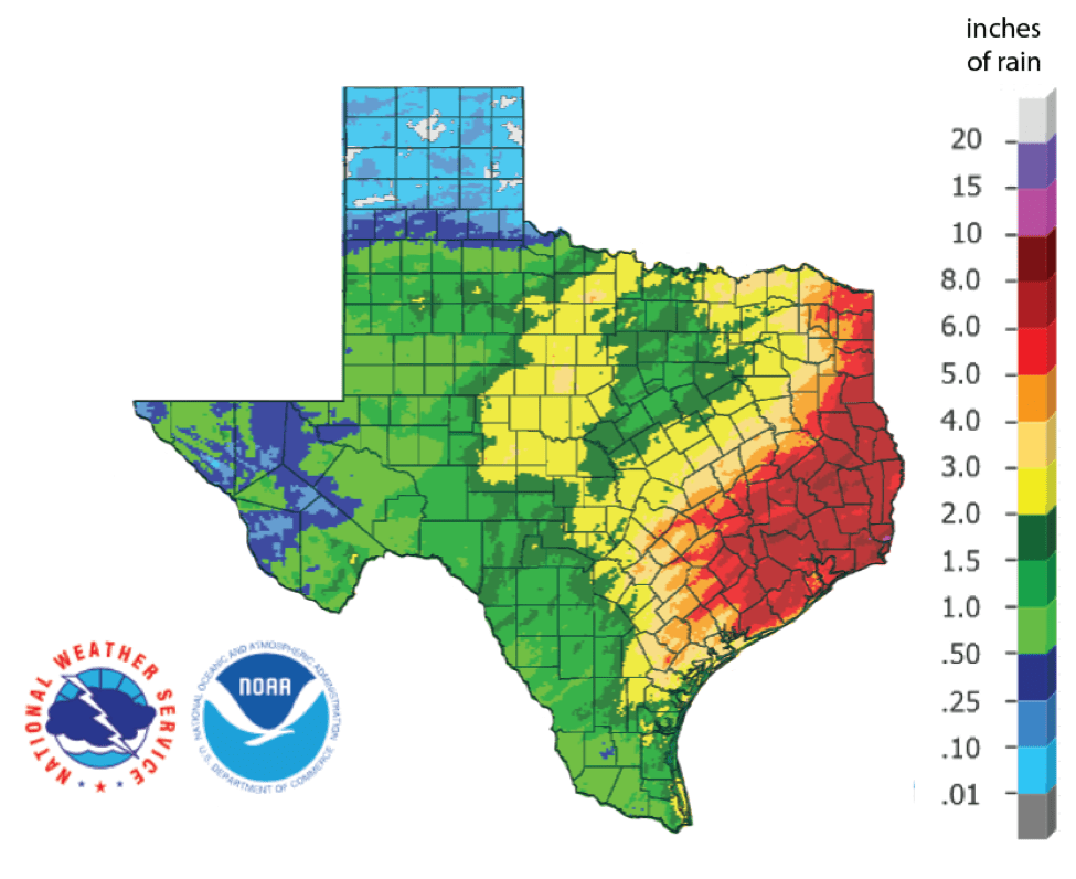 Figure 1b: Inches of rain that fell in Texas in the 30 days before December 14, 2018 (source).