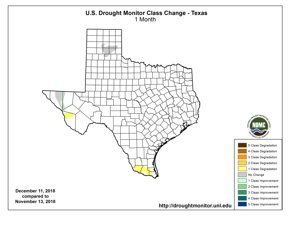 Figure 2b: Changes in the U.S. Drought Monitor for Texas between October 9, 2018, and November 6, 2018 (source).