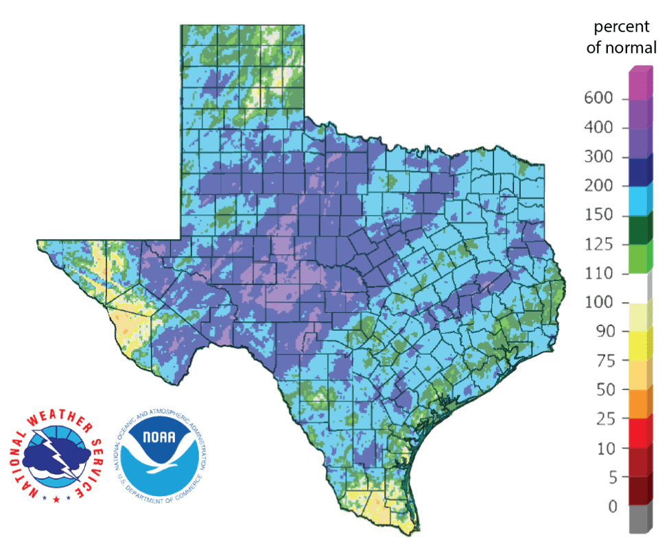 Figure 3: Rainfall as a percent of normal for the past 90 days (as of December 14, 2018; source).