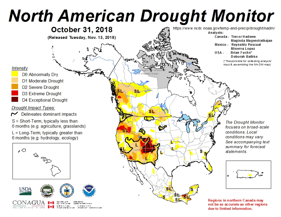 Figure 4a: The North American Drought Monitor for October 31, 2018 (source).
