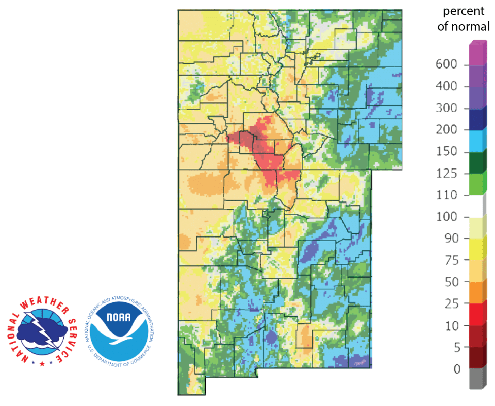 Figure 4b: Percent of normal rainfall for the past 90 days for Colorado and New Mexico as of December 12, 2018 (source). I use this map to see check precipitation trends in the headwaters of the Rio Grande in southern Colorado, the main source of water to Elephant Butte Reservoir downstream.