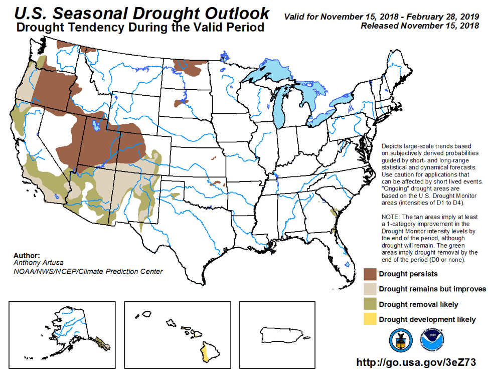 Figure 7: The U.S. Seasonal Drought Outlook for November 15, 2018, through February 28, 2019 (source).