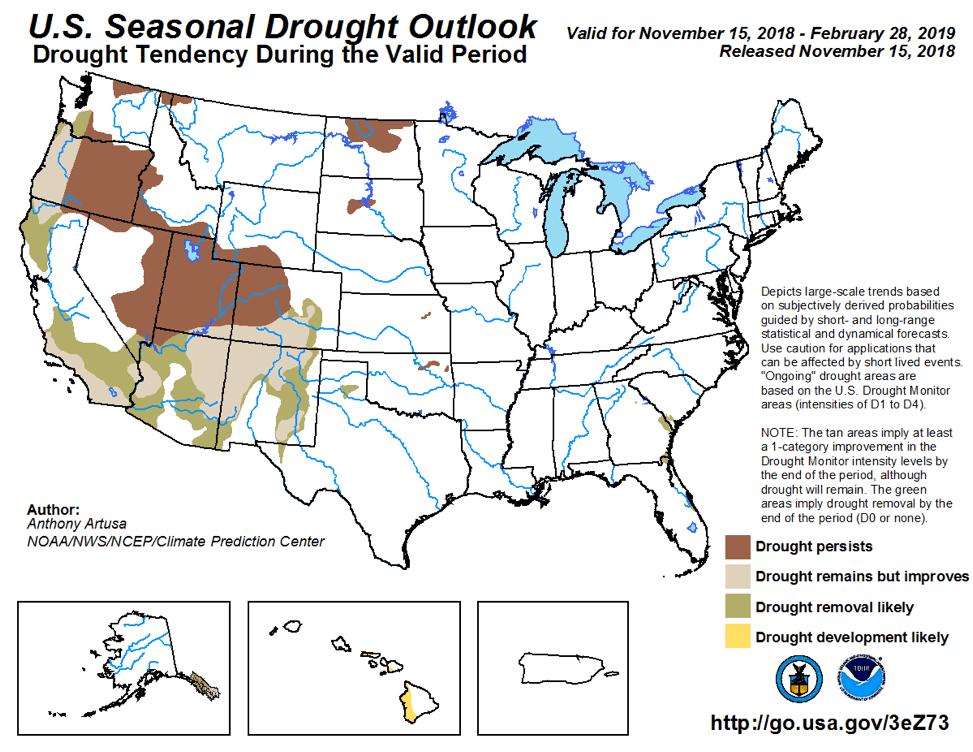 Figure 7: The U.S. Seasonal Drought Outlook for November 15, 2018, through February 28, 2019 (source).