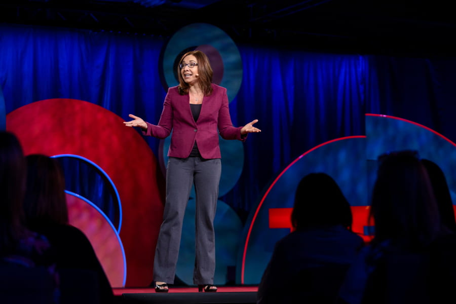 Katharine Hayhoe speaks at TEDWomen 2018: Showing Up, November 28-30, 2018, Palm Springs, California. Photo: Marla Aufmuth / TED