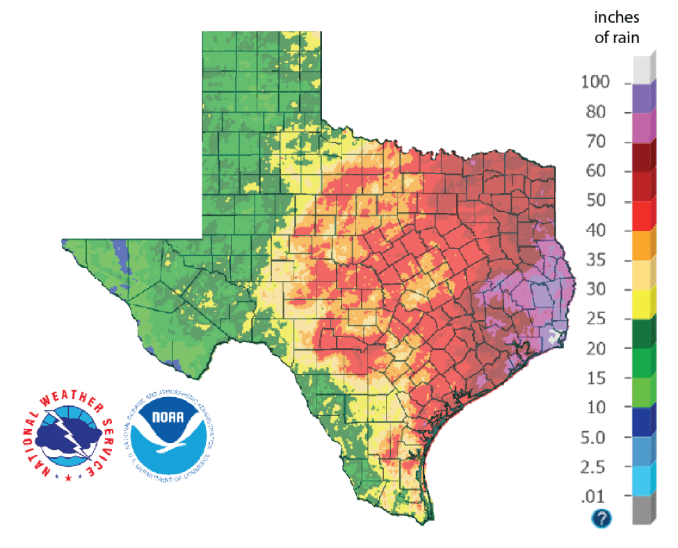 Figure 1a: Inches of rain that fell in Texas in 2018 (source).