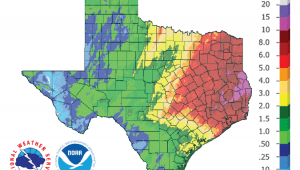 Figure 1c: Inches of rain that fell in Texas in the 30 days before January 25, 2019 (source).