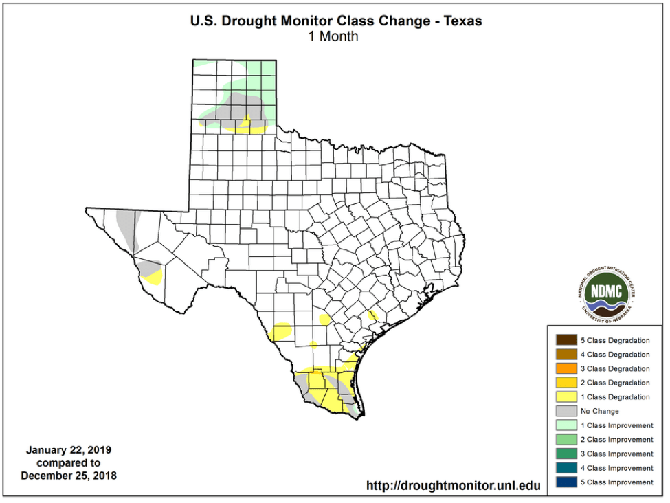 Figure 2b: Changes in the U.S. Drought Monitor for Texas between December 25, 2018, and January 22, 2019 (source).