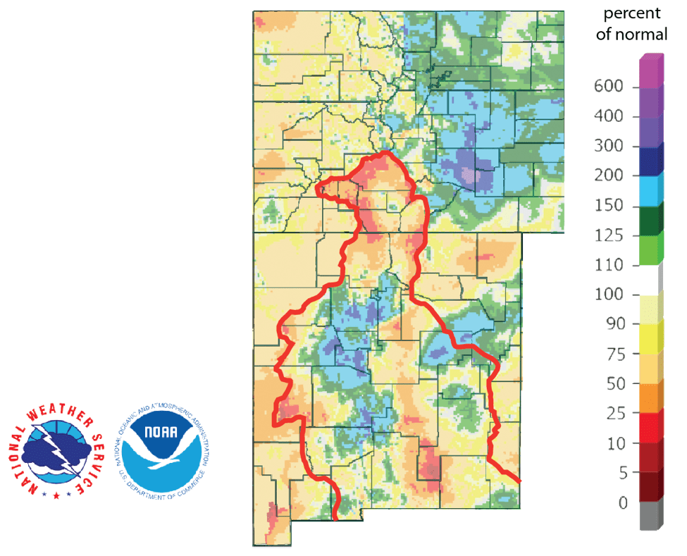 Figure 4b: Percent of normal rainfall for the past 90 days for Colorado and New Mexico as of January 25, 2019 (source). The red line is the Rio Grande Basin. I use this map to see check precipitation trends in the headwaters of the Rio Grande in southern Colorado, the main source of water to Elephant Butte Reservoir downstream.
