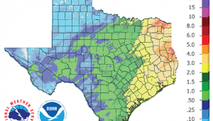 Figure 1: Inches of precipitation that fell in Texas in the 30 days before February 20, 2019 (source).
