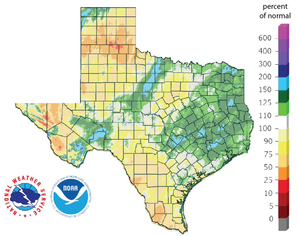 Figure 3: Rainfall as a percent of normal for the past 90 days (as of February 20, 2019; source).