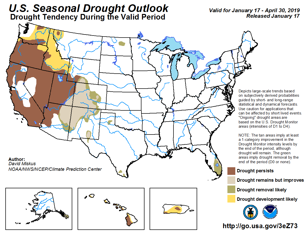 Figure 7: The U.S. Seasonal Drought Outlook for January 17, 2019, through April 30, 2019 (source).