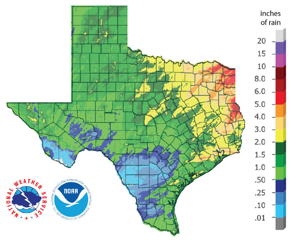 Figure 1: Inches of precipitation that fell in Texas in the 30 days before March 18, 2019 (source).