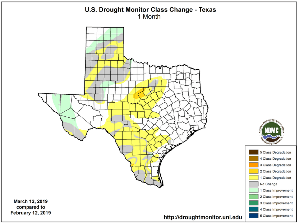 Figure 2b: Changes in the U.S. Drought Monitor for Texas between February 12, 2019, and March 12, 2019 (source).