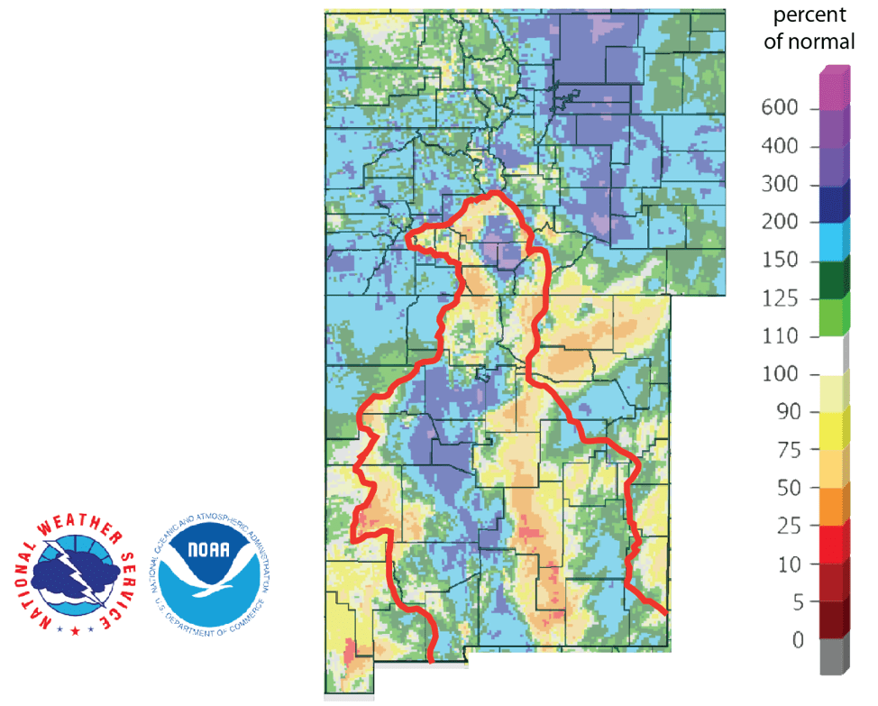 Figure 4b: Percent of normal precipitation for the past 90 days for Colorado and New Mexico as of March 18, 2019 (source). The red line is the Rio Grande Basin. I use this map to see check precipitation trends in the headwaters of the Rio Grande in southern Colorado, the main source of water to Elephant Butte Reservoir downstream.