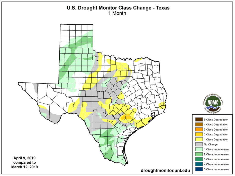 Figure 2b: Changes in the U.S. Drought Monitor for Texas between March 12, 2019, and April 9, 2019 (source).