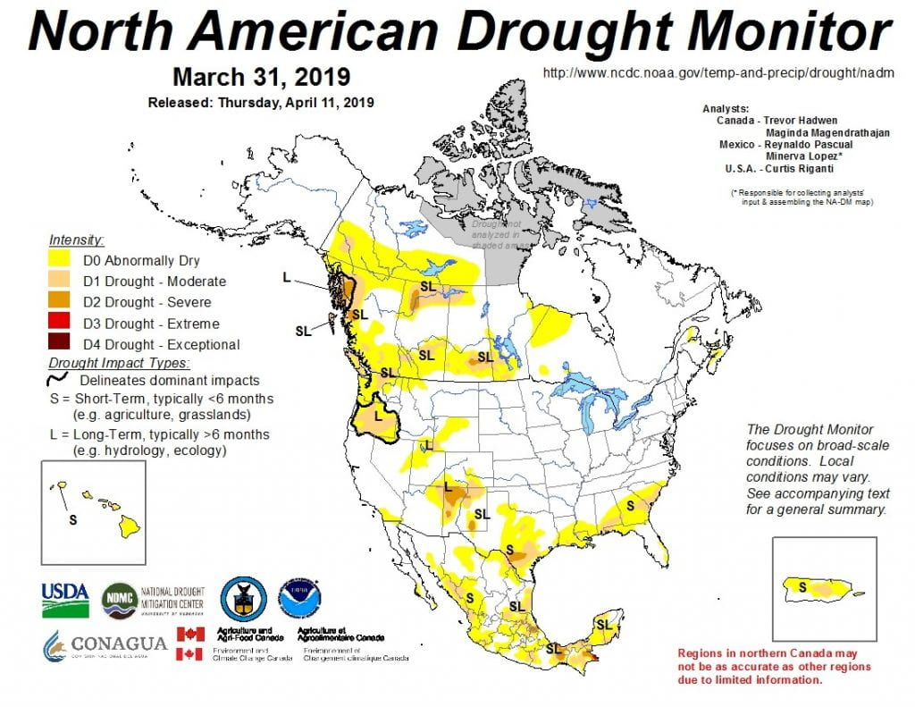 Figure 4a: The North American Drought Monitor for March 31, 2019 (source).
