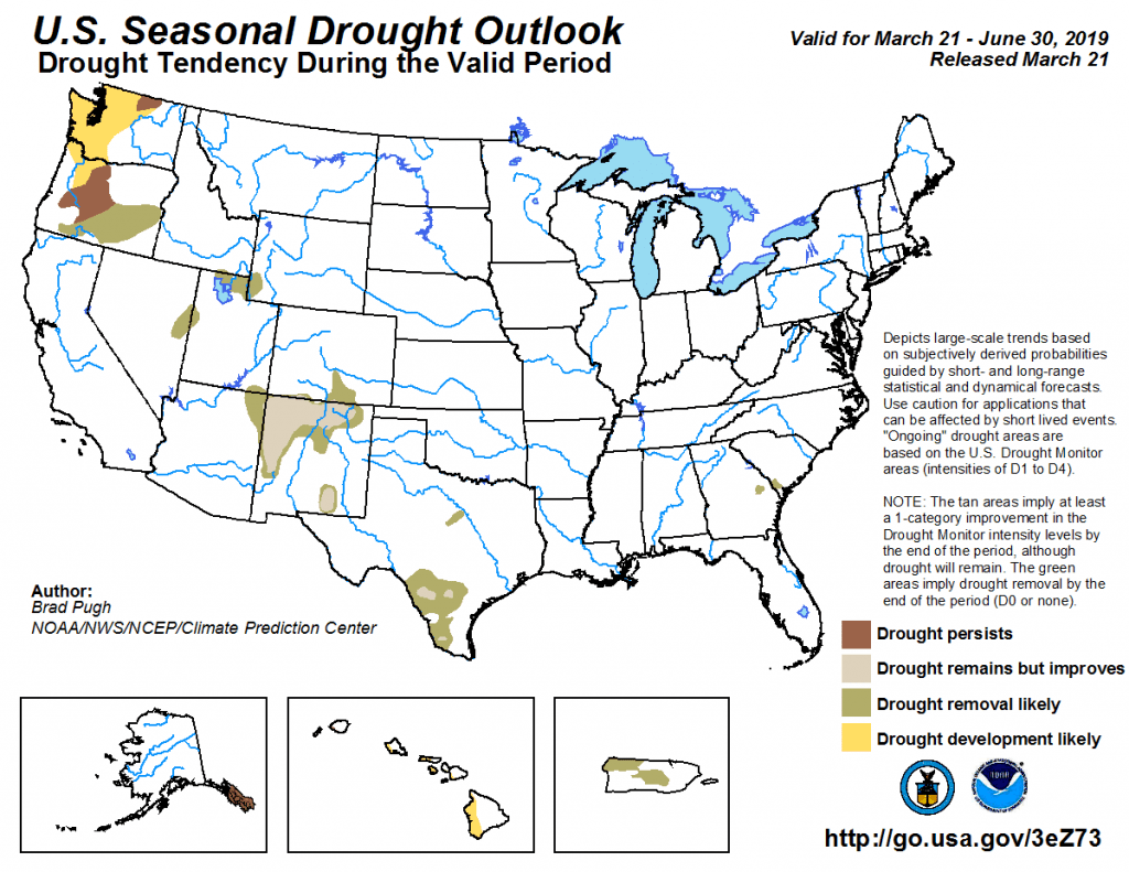 Figure 7: The U.S. Seasonal Drought Outlook for February 21, 2019, through May 31, 2019 (source).