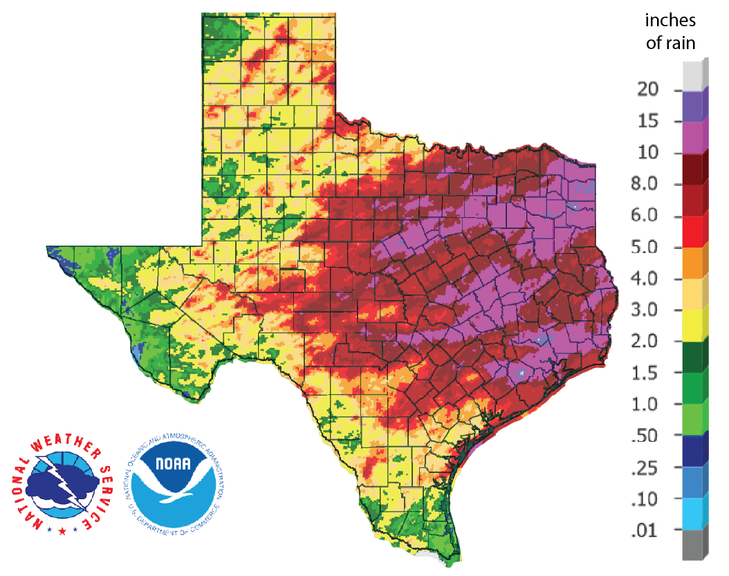 Figure 1: Inches of precipitation that fell in Texas in the 30 days before May 15, 2019 (source).