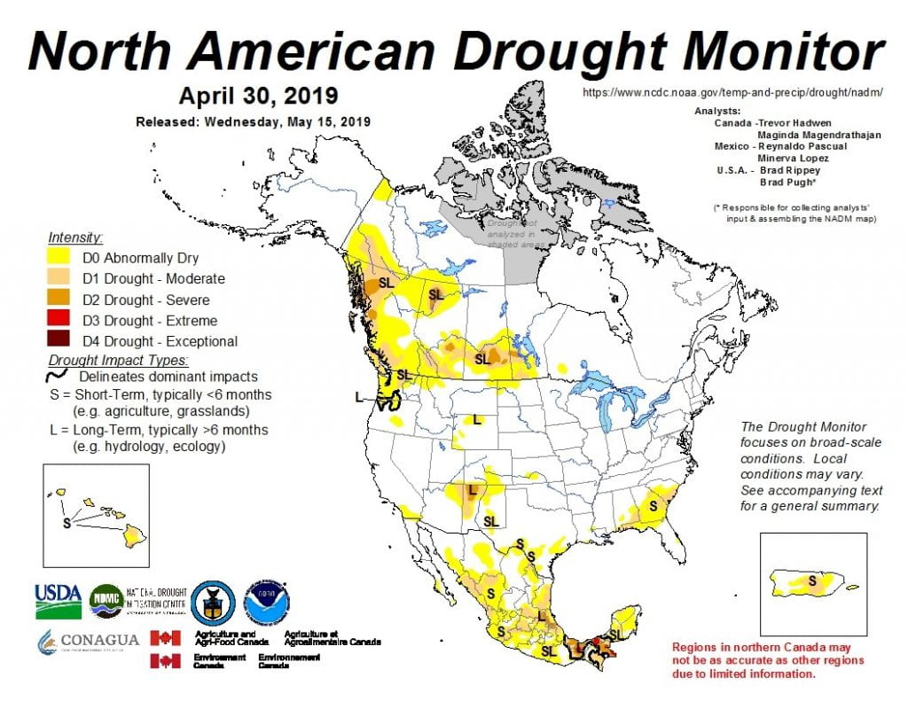 Figure 4a: The North American Drought Monitor for April 30, 2019 (source).