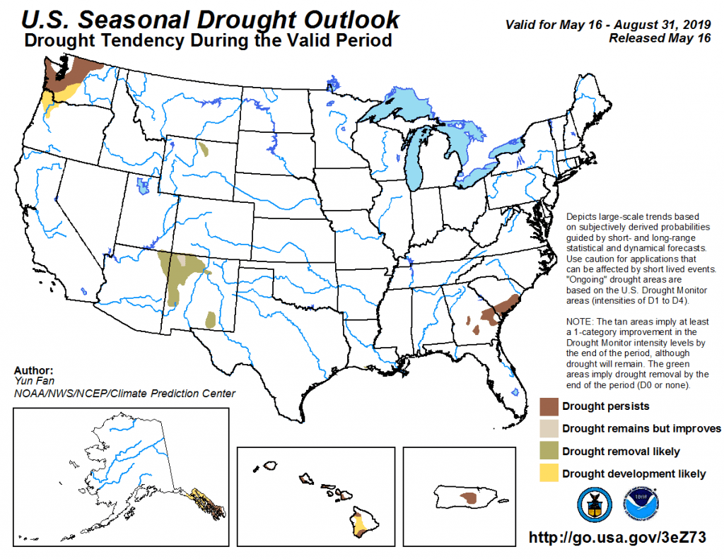 Figure 7: The U.S. Seasonal Drought Outlook for May 16, 2019, through August 31, 2019 (source).