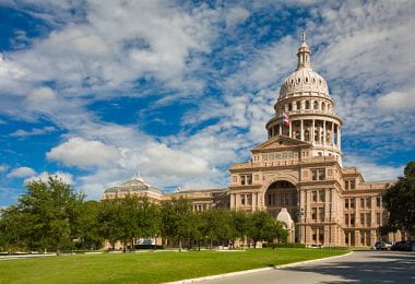 "Texas State Capitol Building in Austin.  It is the tallest state capitol in the USA, and is built of ""sunset red"" Texas granite from Marble Falls."