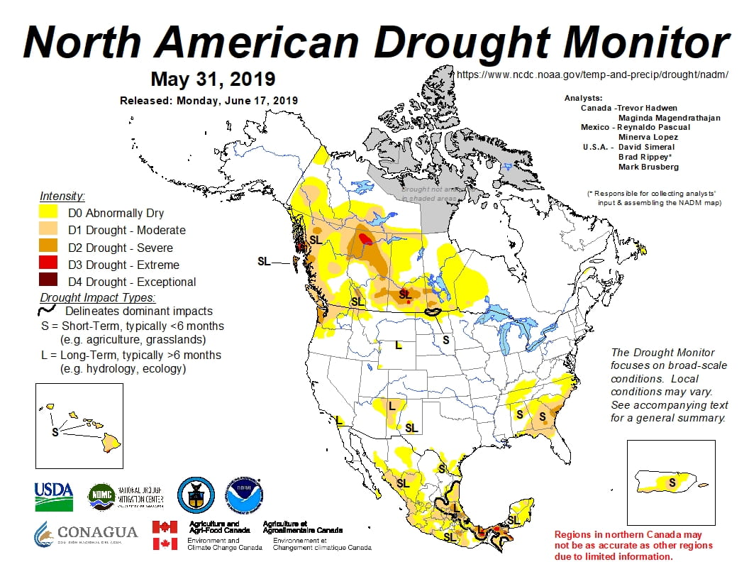 Figure 4a: The North American Drought Monitor for May 31, 2019 (source).