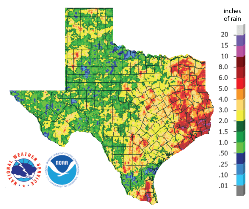 Figure 2a: Inches of precipitation that fell in Texas in the 30 days before July 19, 2019 (source).