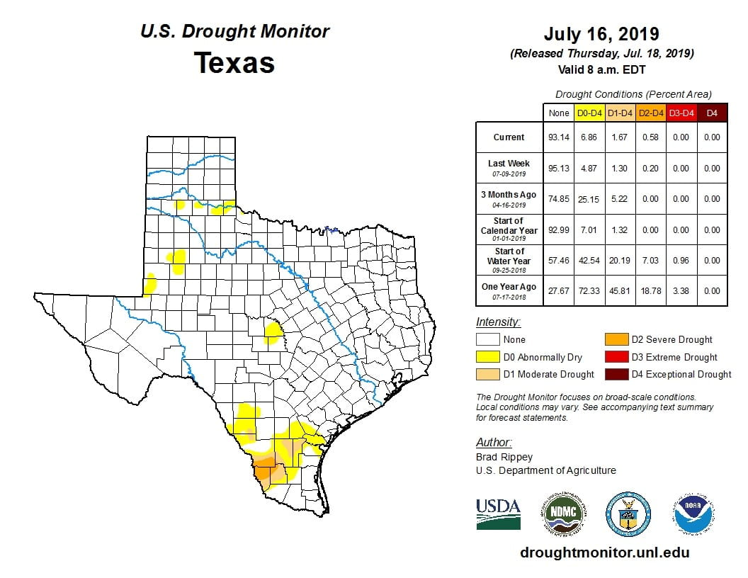 Figure 3a: Drought conditions in Texas according to the U.S. Drought Monitor (as of July 16, 2019; source).