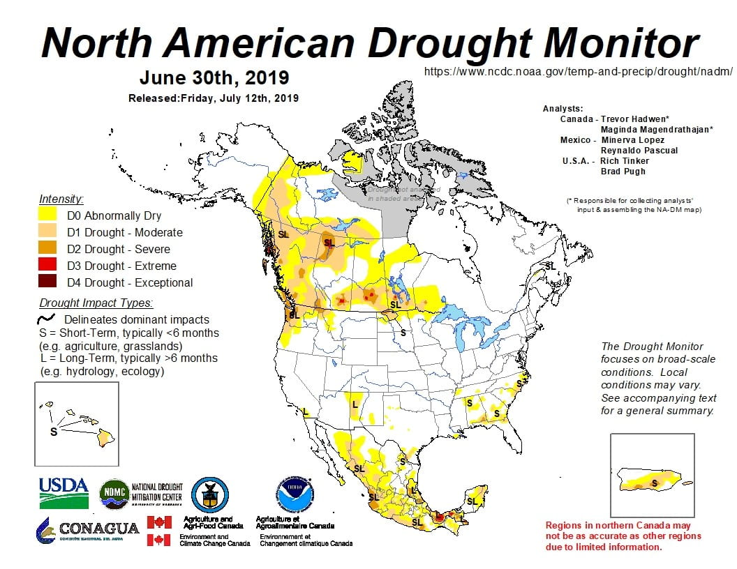Figure 4a: The North American Drought Monitor for June 30, 2019 (source).