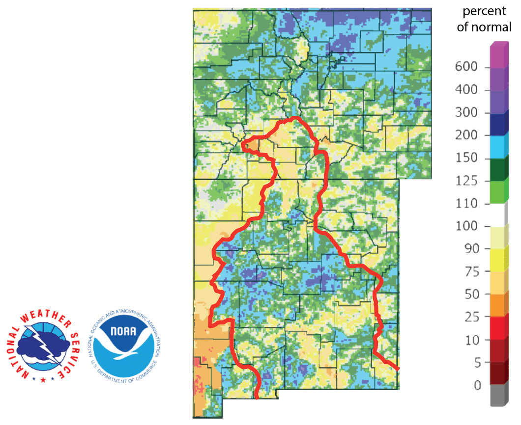 Figure 4b: Percent of normal precipitation for the past 90 days for Colorado and New Mexico as of July 19, 2019 (source). The red line is the Rio Grande Basin. I use this map to see check precipitation trends in the headwaters of the Rio Grande in southern Colorado, the main source of water to Elephant Butte Reservoir downstream.