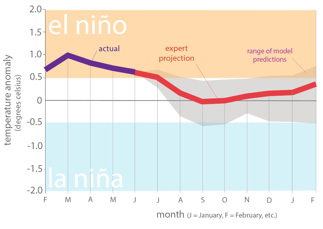 Figure 6. Forecasts of sea surface temperature anomalies for the Niño 3.4 Region as of July 8, 2019 (modified from source).
