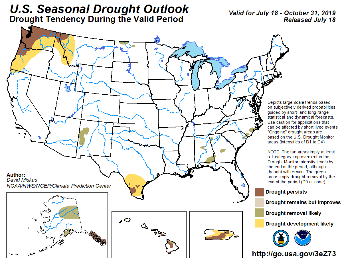Figure 7: The U.S. Seasonal Drought Outlook for July 18, 2019, through October 31, 2019 (source).