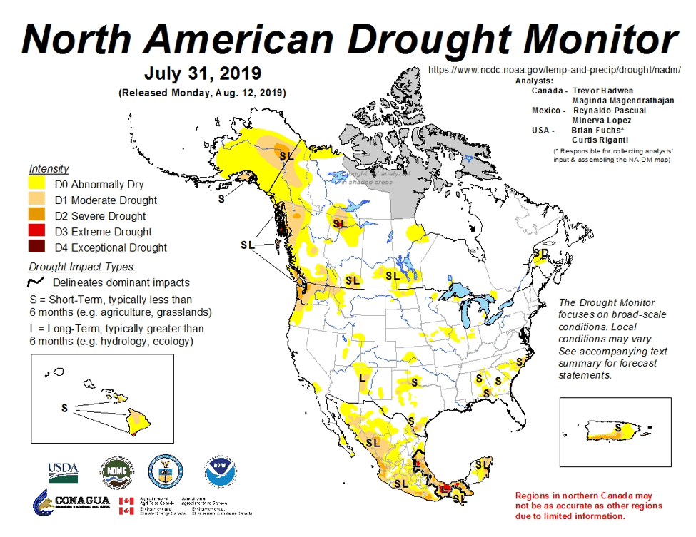 Figure 4a: The North American Drought Monitor for July 31, 2019 (source).